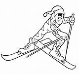 Cross Country Coloring Skiing Pages Winter Skier Olympics Olympic Race sketch template
