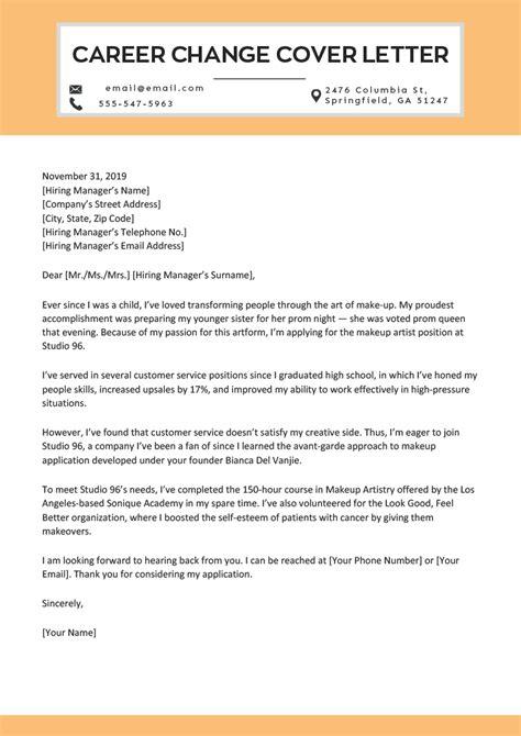 Career Cover Letter by Career Change Cover Letter Sle Tipsense Me