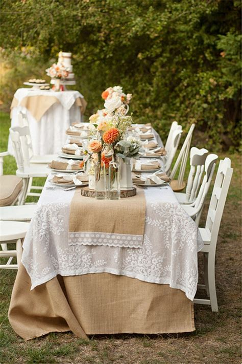 Outdoor Rustic Burlap Wedding Decor Ideas two pink canaries