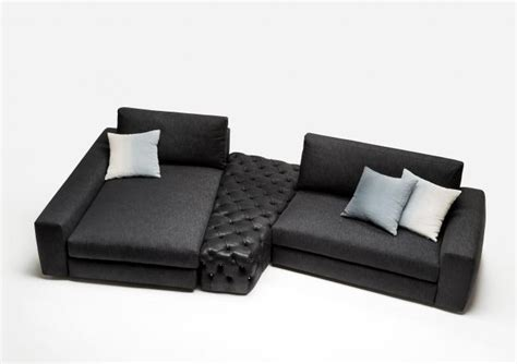 Divani Componibili Online : Leather And Denim Sectional Sofa