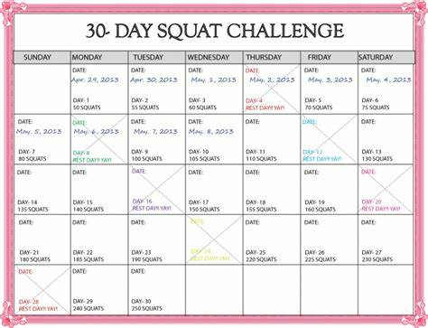 Schedule Squatting In March Doggy Challenge Calendar Printable