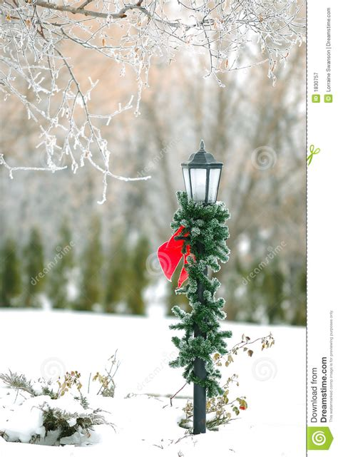 christmas decorated street post stock image image