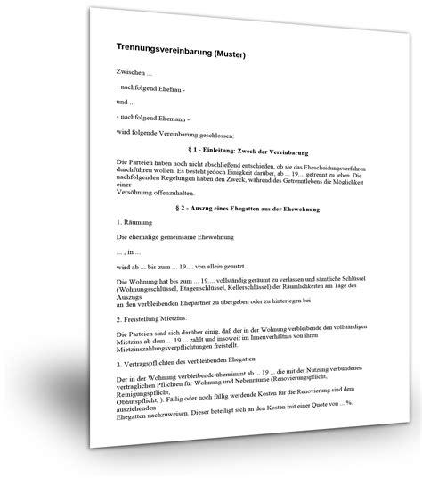 trennungsvereinbarung haus muster trennungsvereinbarung muster 1