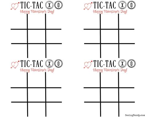 Free Printable Tic Tac Xo Valentine's Day Cards  Seeing Dandy