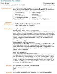 cv format management trainee