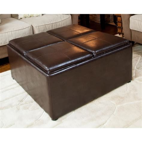 brown ottoman coffee table avalon coffee table storage ottoman with 4 serving trays