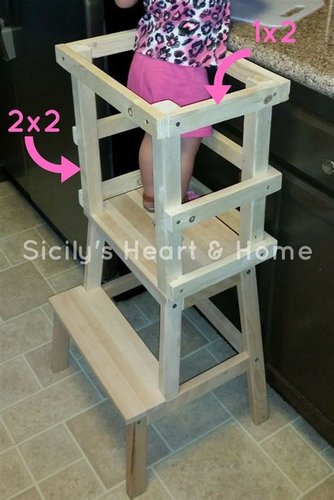 diy learning tower woodworking  kids learning tower