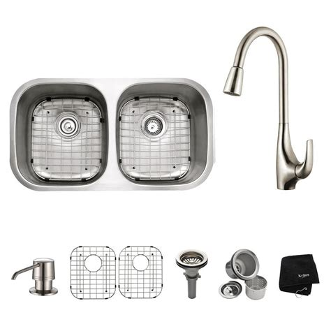 Stainless Steel Kitchen Sinks And Faucets by Kraus All In One Undermount Stainless Steel 32 In