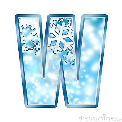 winter alphabet letter  stock  image