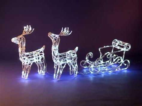 renne en duo et traineau lumineux blanc 160 leds d 233 coration de no 235 l