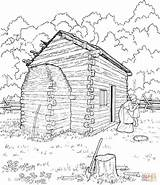 Cabin Coloring Log Lincoln Abraham Pages Printable Sketch Cabins Logs Drawing Clipart Colouring Abe Supercoloring Adult Mountain Sheets Books Washington sketch template