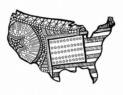 Coloring Pages July Adult Fourth Flag American