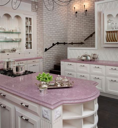 Downstairs Kitchen With Pink Countertops  Kitchen