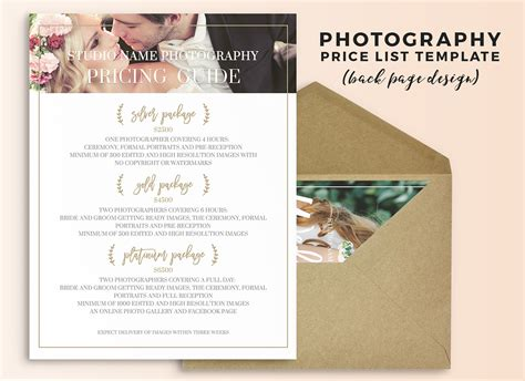 wedding photography price list photoshop template  behance