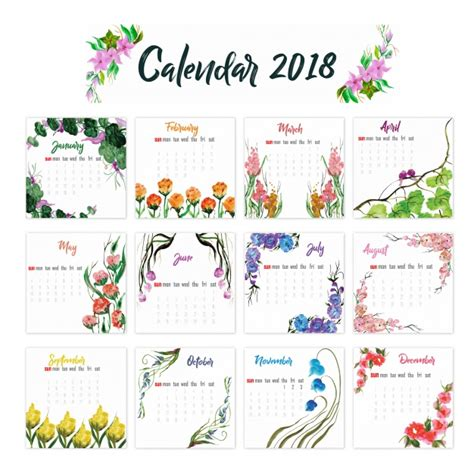 vector calendar floral design graphic hunt