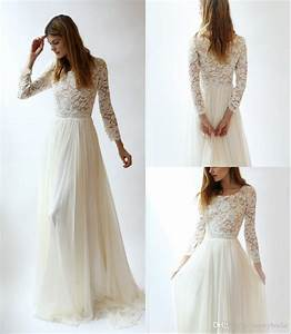 long sleeves lace modest wedding dresses with long lace With affordable boho wedding dresses