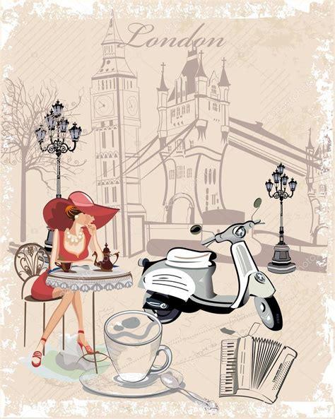 Dibujos: mujeres tomando cafe Fondo de moda decorada con