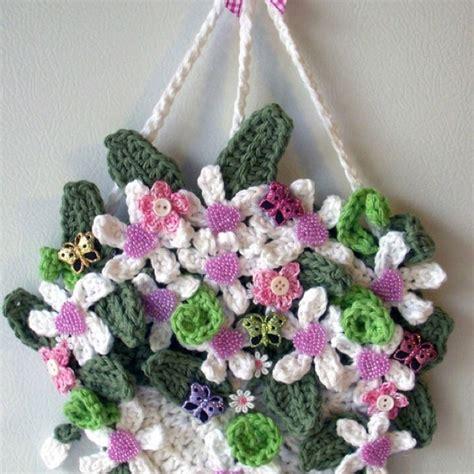 crochet wall hanging flowers httplometscom