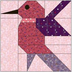 Hummingbird Paper Pieced Quilt Block Pattern