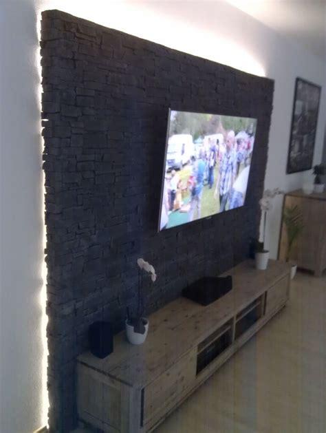 Steinwand Mit Tv by Steinwand Mediawand Eigenbau Wand Wohnzimmer