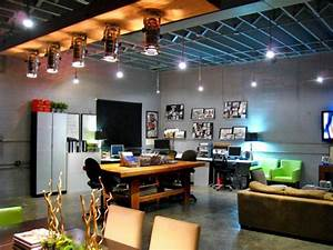 modern loft living space with home office work area hgtv