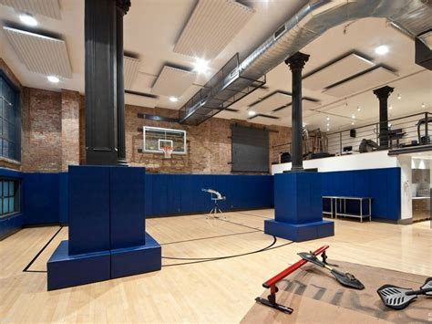 Tribeca Loft Mansion Has Million Dollar Style by Loft Mansion Fitness Center Basketball Court