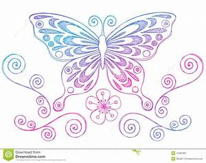 Sketchy Notebook Doodles Butterfly And Swirls Stock Vector Illustration of paper, notebook