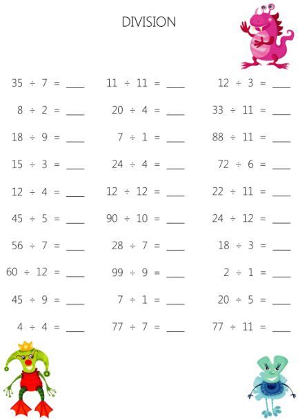 easy division worksheets  images division