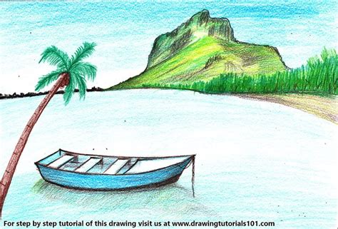 How To Draw A Water Boat by Learn How To Draw A Boat In Water Scenery Landscapes