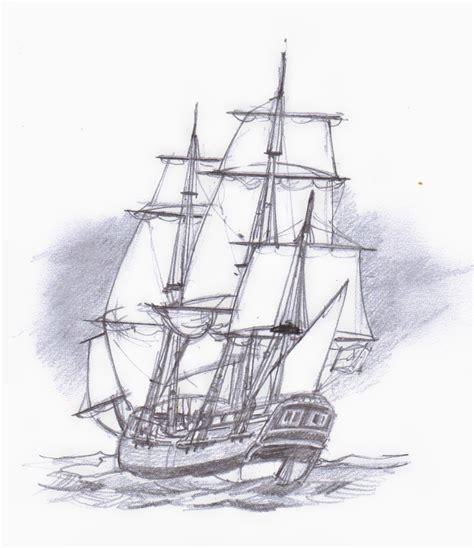 Drawn Sailing Ship Sketch Pencil And In Color Drawn