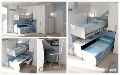 chambre en mezzanine chambre enfant avec lit bureau mobile compact