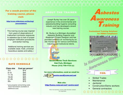 asbestos awareness training brochure