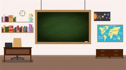 Classroom Desk Class Blackboard Nobody Clip Teachers