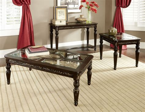 Russian Hill Upholstery by Russian Hill Warm Cherry Occasional Table Set From