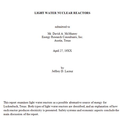 Title Page Abstract Template by 10 3 Abstract And Executive Summary Technical Writing