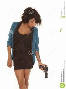 Hispanic Woman Gun Gun Down Tattoo Royalty Free Stock ...