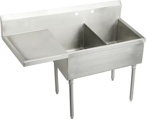 Stainless Steel Utility Sinks Free Standing by Elkay Ss8230lof2 2 Faucet Holes Sturdibilt 55 1 2 Quot