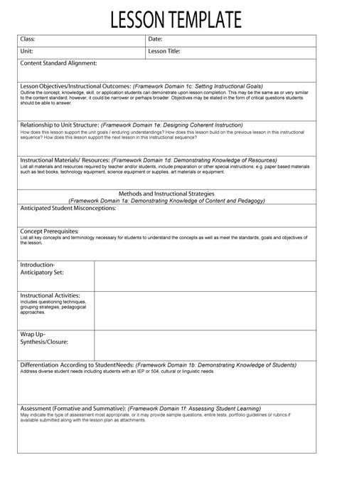 sample lesson plan outline 44 free lesson plan templates common core preschool weekly
