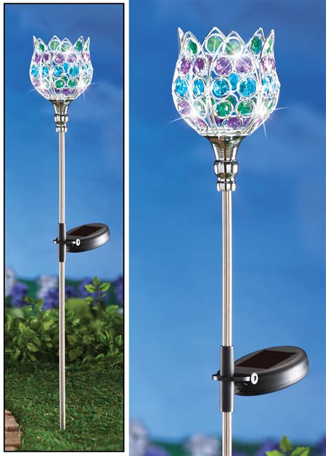 Solar Garden Stakes by Solar Powered Lighted Multicolored Acrylic Gems Tulip