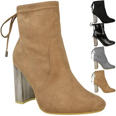 womens ladies  mid block heel chelsea ankle boots