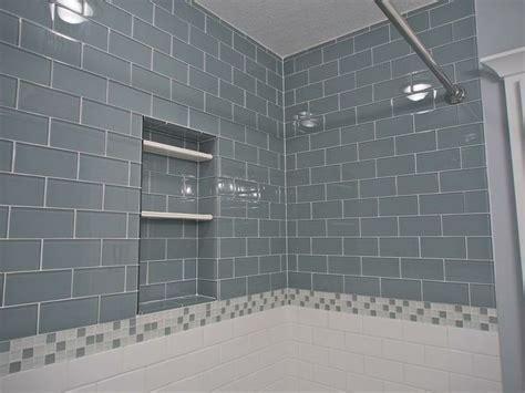gray bathroom   daltile desert subway tile shower