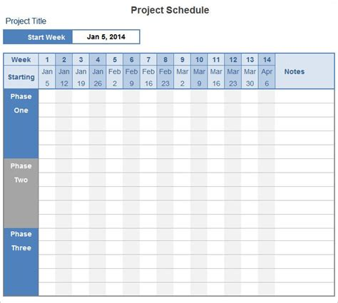 project schedule template   excel documents
