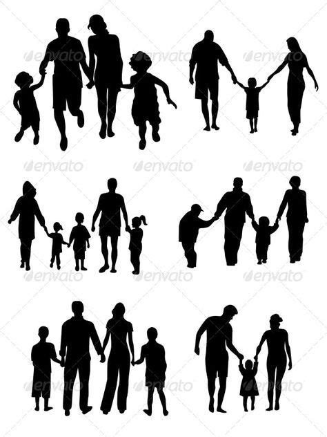 Family Silhouettes - Vector (With images) | Family tattoo