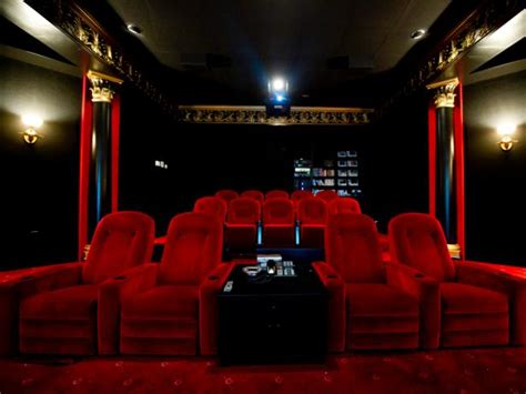 home theater  red velvet  chairs  luxury