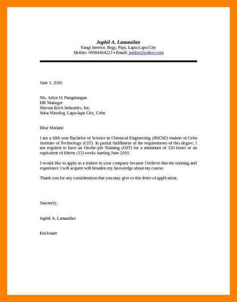 3 exles of application letter for ojt emt resume
