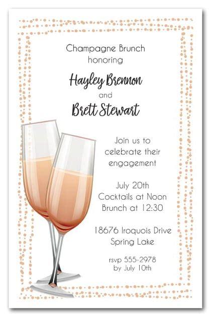 peach champagne flutes brunch luncheon invitations