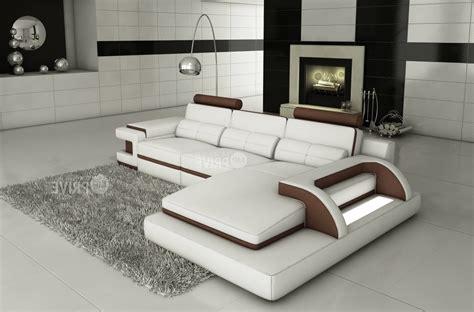 canapé de luxe design canapé d 39 angle en cuir italien 6 places vinoti blanc et