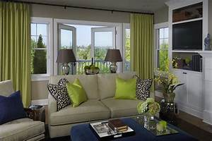 Fun green & blue living room design with gray walls paint