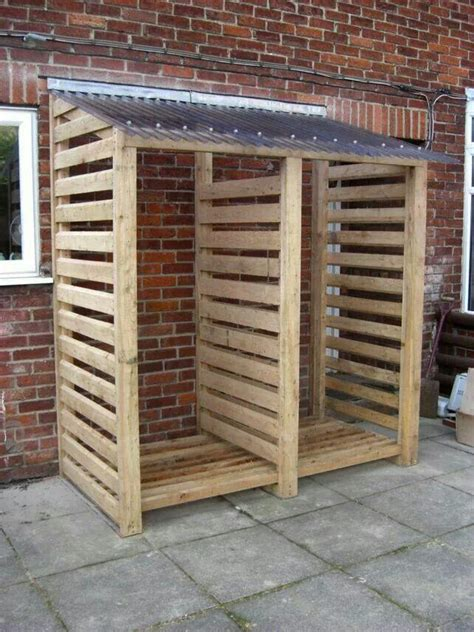 covered wooden rack  wood pile outdoor firewood rack