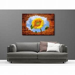 Toile De Mur : tableaux toile d co rectangle mur de pierre fleur de tournesol art d co stickers ~ Teatrodelosmanantiales.com Idées de Décoration